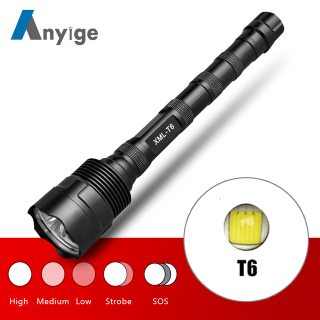 ANYIGE Strong Bright XML T6 LED Flashlight 5 Modes Flashlamp Linterna Torch Light Use 18650 Battery For Camping Fishing Hunting