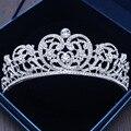 Luxo de Prata Folha de Cristal Nupcial Tiaras Princesa Rainha Prom Pageant Crown Strass Tiara Véu Tiara Acessório Do Cabelo Do Casamento
