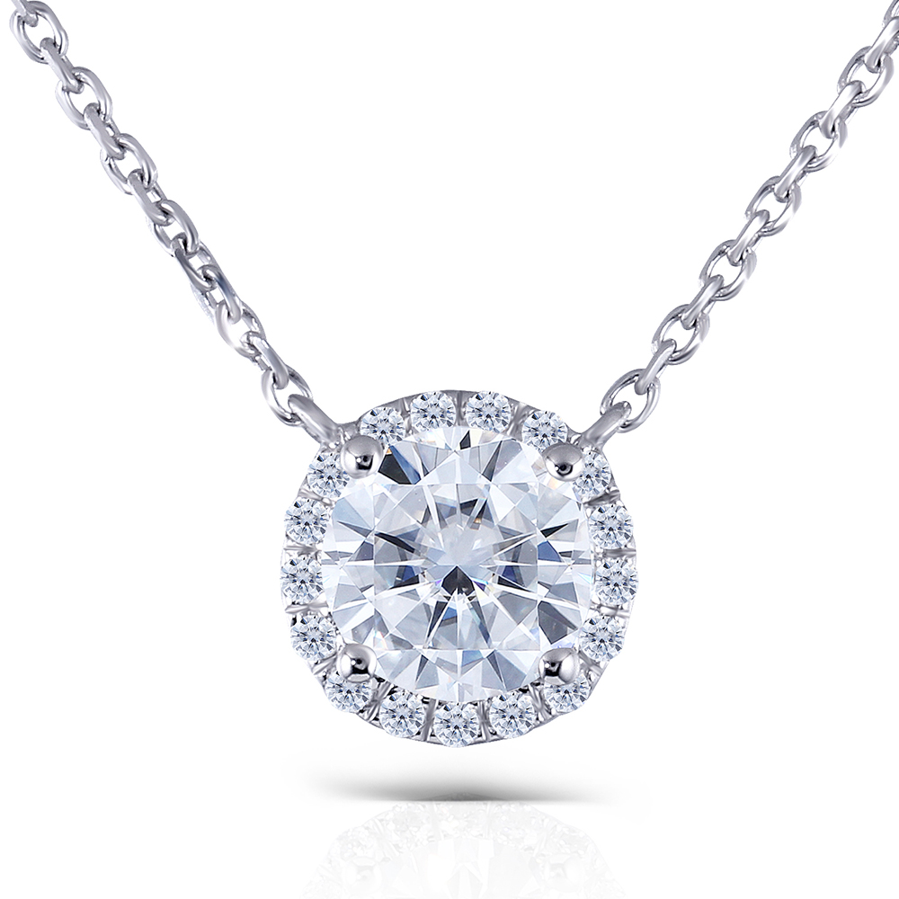 TransGems Solid 14K 585 White Gold 1ct FGH 6.5mm Moissanite Diamond Halo Pendant Necklace for Women 18 Inch Chain moissanite pendant 18k 750 yellow gold round brilliant lab grown moissanite diamond pendant necklace chain for women jewelry