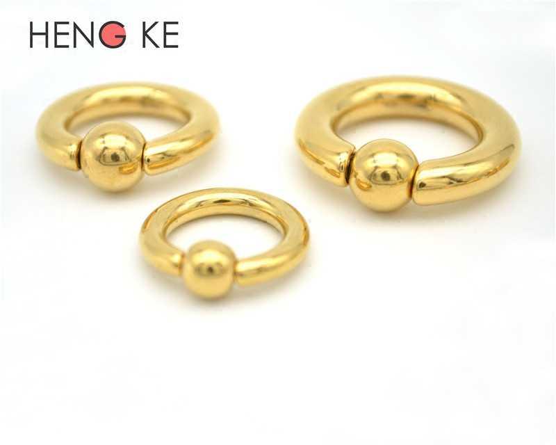 1pcs GOLD BCR Ball Close แหวนแหวนเจาะฤดูใบไม้ผลิ Ball CAPTIVE Prince Albert ต่างหู ROCK ช่องคลอดแหวนเครื่องประดับ