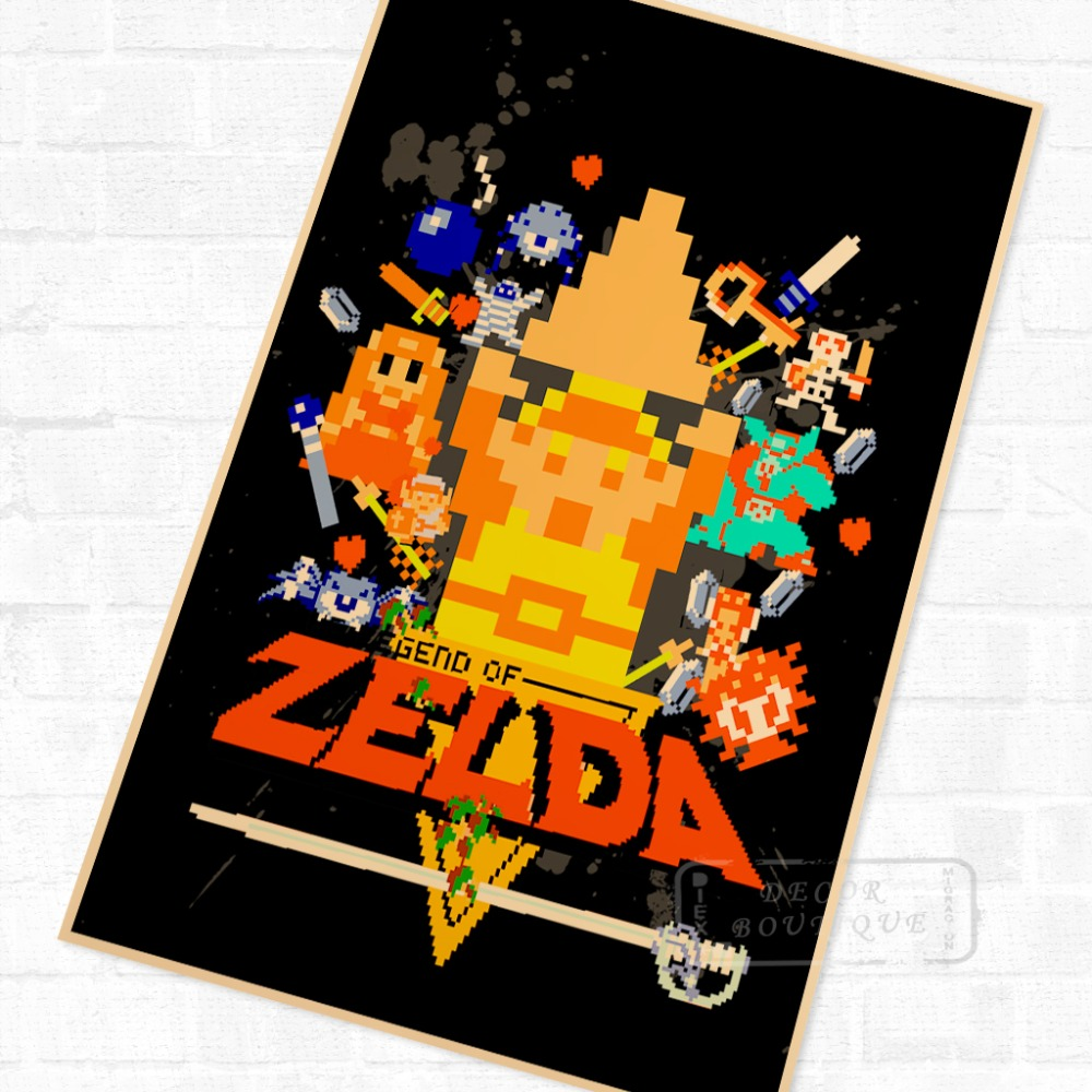 Classic 8 Bit Game The Legend Of Zelda Video Game Poster