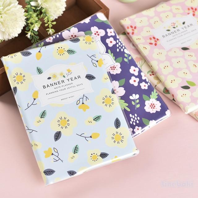 cute korea flower fresh floral schedule day week planner book line