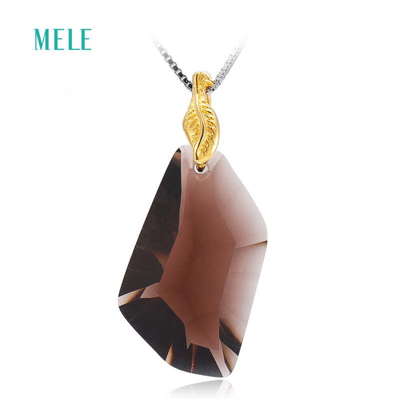 MELE Natural smoky quarts silver pendant 15mm 26mm all clean quarts fashion and popular nice cutting