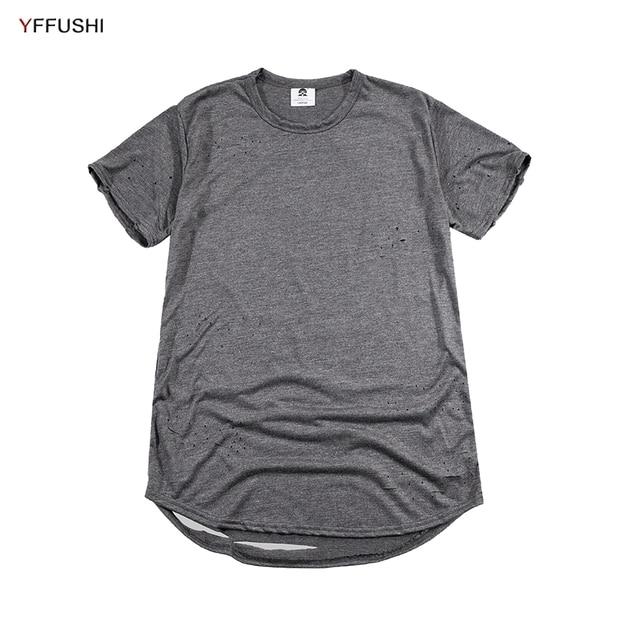 68aacd74 YFFUSHI Ripped Holes Men T-Shirts 2018 Summer T shirts Casual Top Tees  Fashion tshirt Streetwears for Men