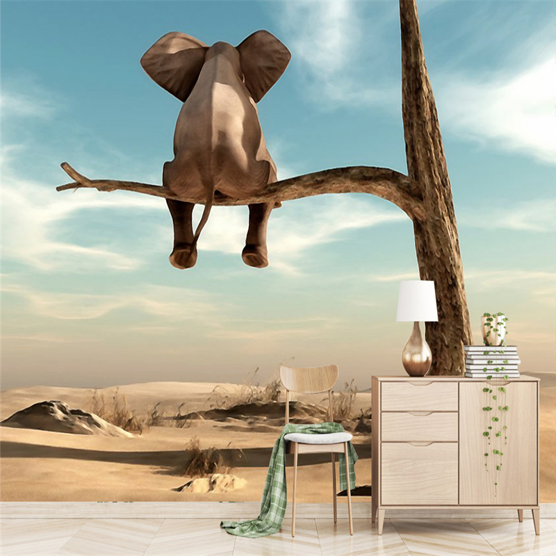 Custom Photo Wallpapers For Walls 3D Cartoon Pattern Woods Murals Elephant Wall Papers for Living Room Children Room Home Decor personality custom wallpaper 3d stereoscopic feather murals white non woven wallpapers wall papers for living room home decor