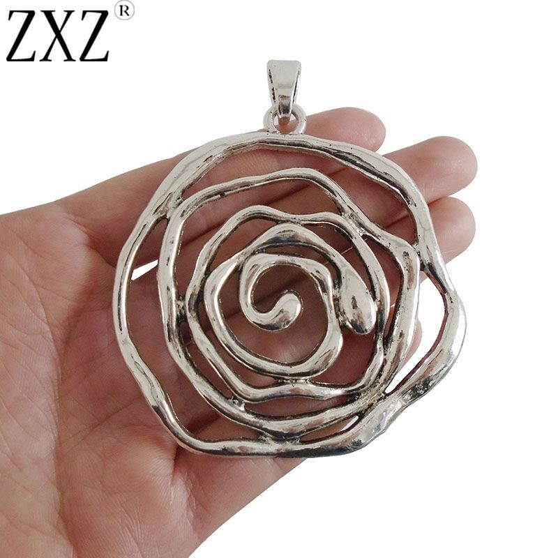 2Pcs Large Abstract Silver Heart Flower Hamsa Hand Charms Pendant Jewelry Making