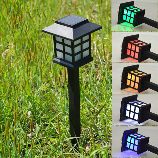 Retro Outside Land Stake Light Waterproof Solar Lawn Lamps Spotlight LED  Path Hallway Lantern Outdoor Garden