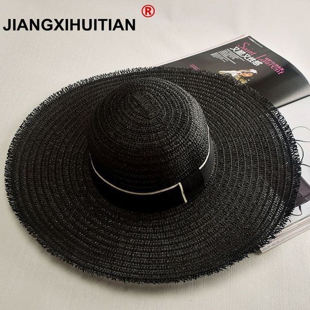 08c97fb0d US $6.14 10% OFF|2017 new summer Chic Women's Retro Black & White Wide Brim  Straw Sun Hat Lady Summer Travelling Hats free shipping-in Sun Hats from ...