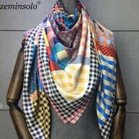 100% bufanda de seda de sarga para Mujer chal estampado Echarpe cuatro lard para Mujer Bufandas cuadradas Hijab Bandanas Bufandas Mujer 130*130cm