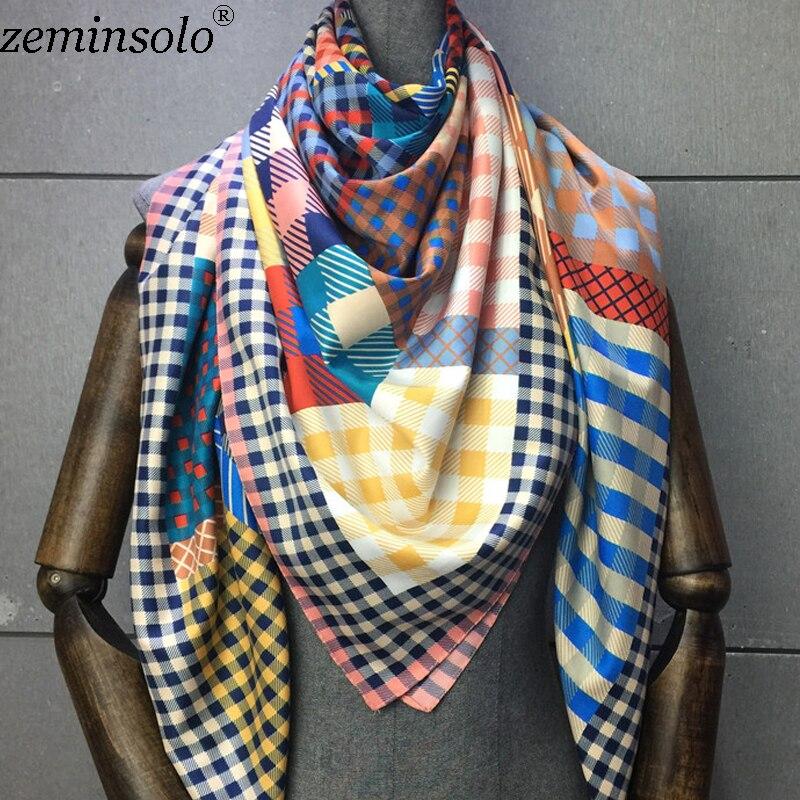 Bufanda de 100% seda de sarga estampada para mujeres, chal, foulard cuadrado, hijab, pañuelos de 130x130cm|Bufandas de mujer| - AliExpress
