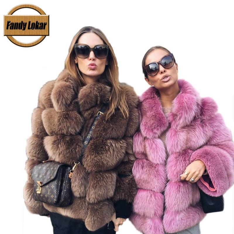Fandy Lokar Real Fox Fur Coat Women Winter Thick Fur Coat Real Fox Fur Jacket Overcoat Female Ladies Stand Collar Furs Jacket