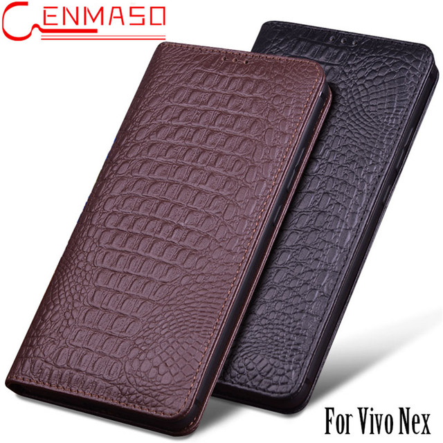 wholesale dealer a21a0 9a70a US $39.99 |Vivo NEX Case Luxury Genuine Leather + Soft Silicon Back Cover  Flip Funda Vivo NEX S Phone Cases Vivo NEX A Sleep Wake Up Capa-in Flip ...