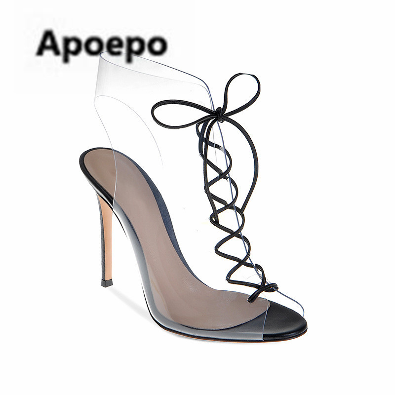 Newest brand summer PVC ankle boots for girls Transparent mixed colors high heels sandals women peep toe lace up ladies shoes