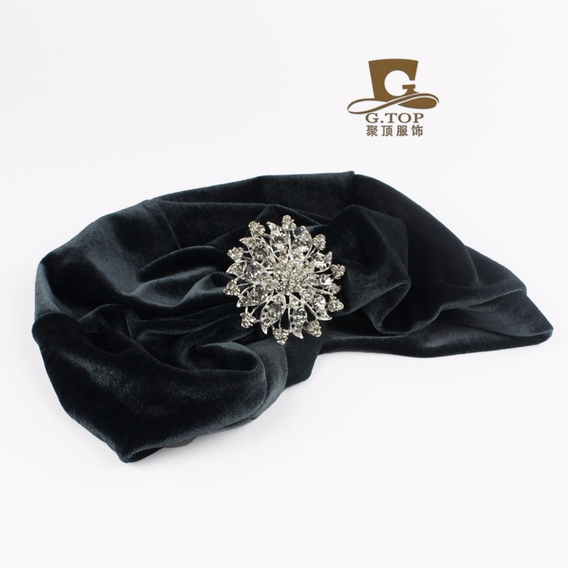 88b5d7816c9 Velvet Flapper jeweled brooch Stretch Full Turban Headband Great ...