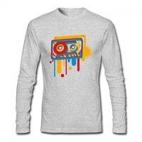 Cassette de música en graffiti impreso mujer hombres camiseta o Masajeadores de cuello Otoño Invierno primavera camiseta femenina manga larga Camisetas Tees