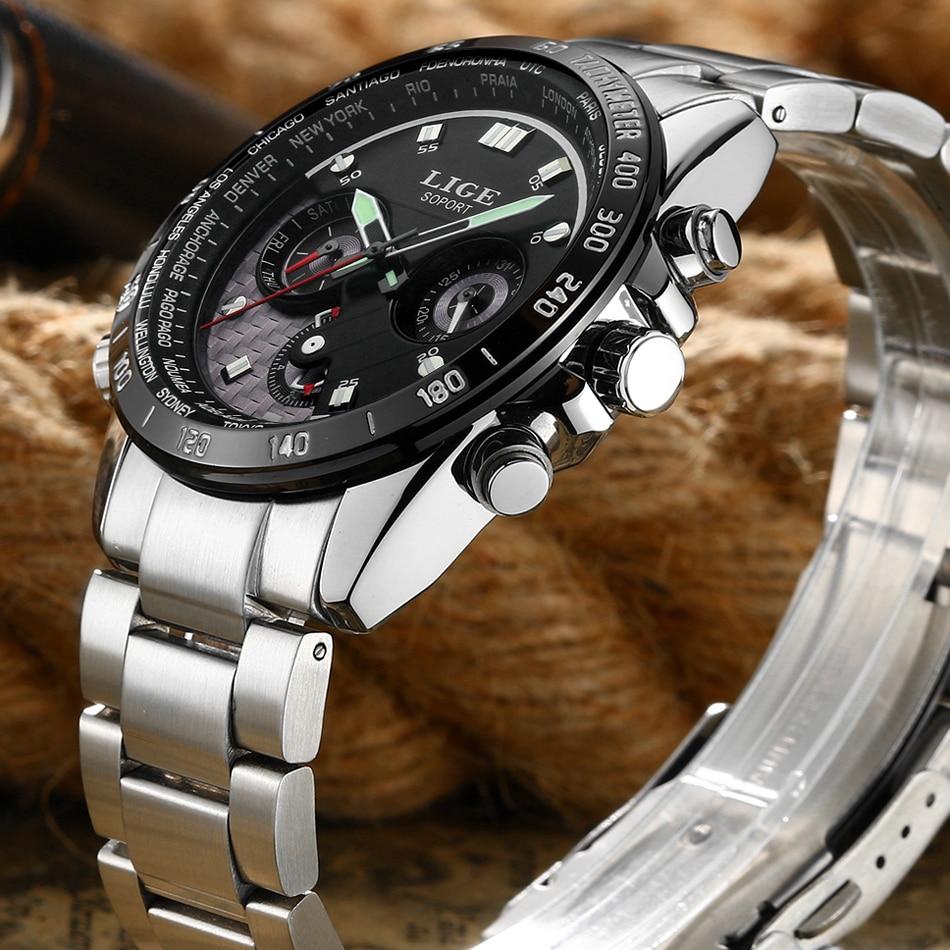 Prix pour LIGE De Mode Casual Sport Hommes Montres Marque De Luxe Homme D'affaires Quartz-Montre Hommes Montre-Bracelet Horloge Temps Du Monde Relogio Masculino