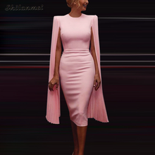 elegant Cape Sleeve Dress women slim solid sexy bodycon dress female 2019 office lady workwear vintage hip package party dresses