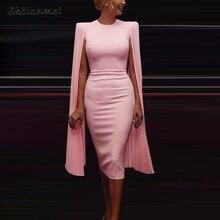 אלגנטי קייפ שרוול שמלת נשים slim מוצק סקסי bodycon שמלת נקבה 2019 משרד ליידי workwear בציר ירך חבילה מסיבת שמלות
