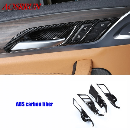 Car carbon fiber ABS Styling Interior Inner Side Door Handle Bowl Trim For <font><b>BMW</b></font> <font><b>X3</b></font> G01 <font><b>2017</b></font> 2018 2019 car <font><b>Accessories</b></font> 4PCS/LOT image