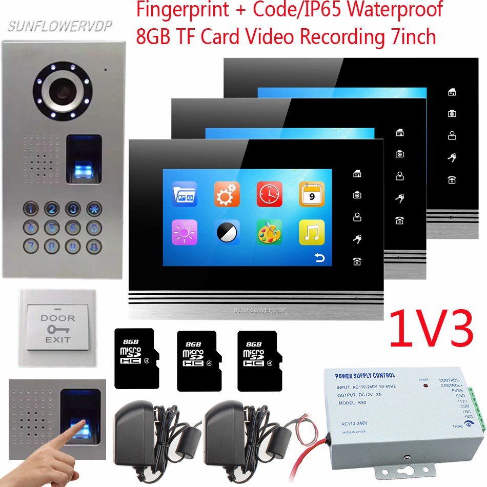 1v3 Fingerprint Keypad Recording Video Intercom System IP65 Waterproof Door Bell Camera 7 Color 8GB TF Memory Card Video-Eye