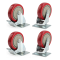 4 x Heavy Duty 75mm Rubber Wheel Swivel Castor Wheels Trolley Caster Brake Set of castor