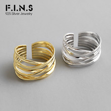 F.I.N.S 925 Silver Ring Crossed Line Wide Open Finger Rings S925 Sterling Engagement Female Costume Fine Jewelry