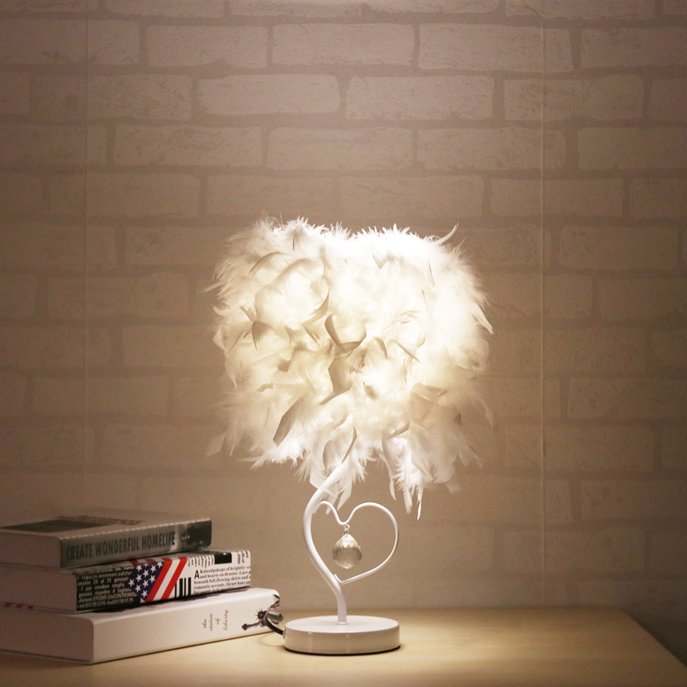 Heart Shape Bedside Reading Room Sitting Room Featherromantic Bedside Reading Room Sitting Room Heart Lamp Feather Crystal Light Led Table Lamps