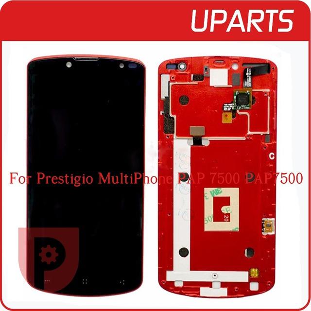 Alta qualidade para prestigio multiphone pap 7500 pap7500 display lcd touch screen substituição digitador assembléia de vidro com moldura