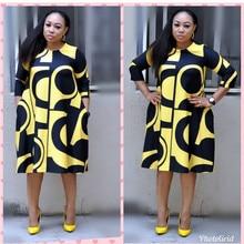 Новое Африканское женское платье цифровая печать круглый воротник базовое ТРАПЕЦИЕВИДНОЕ платье с рукавами