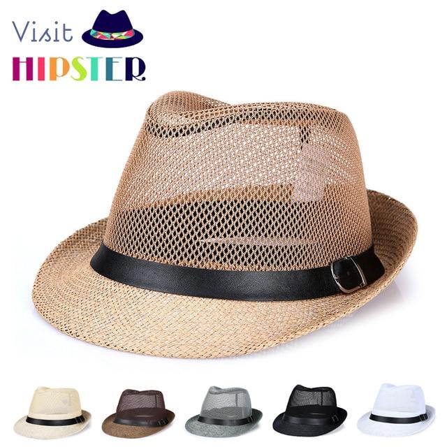 Mens chapéus Fedora Panamá Jazz Chapéu de Praia masculino Na Moda Casual  Sun straw chapéus fedora 99449ba41fc