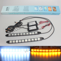12v 10 16LED Daytime Running Lights DRL Fog Lights Flexible Silicone Waterproof Led Super Bright Fog