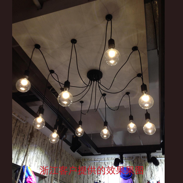 Edison Light Bulb Chandelier Personality Simple Minimalist Diy Creative Restaurant Industry Loft Clothing Fixtures