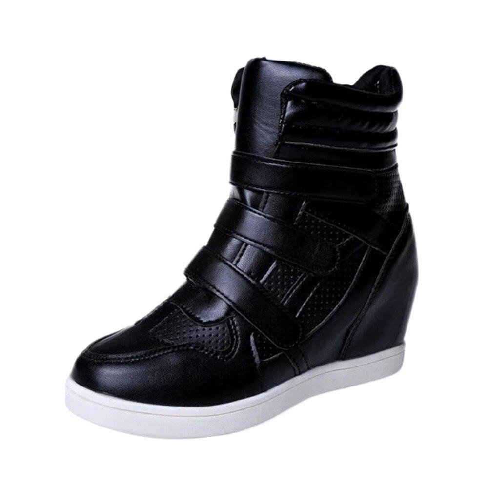 Cuir Épais Femme D'hiver Casual Chaussure Chaussures Bottes Femmes Cheville Bas 2018 Noir En blanc Basique qXxYFz