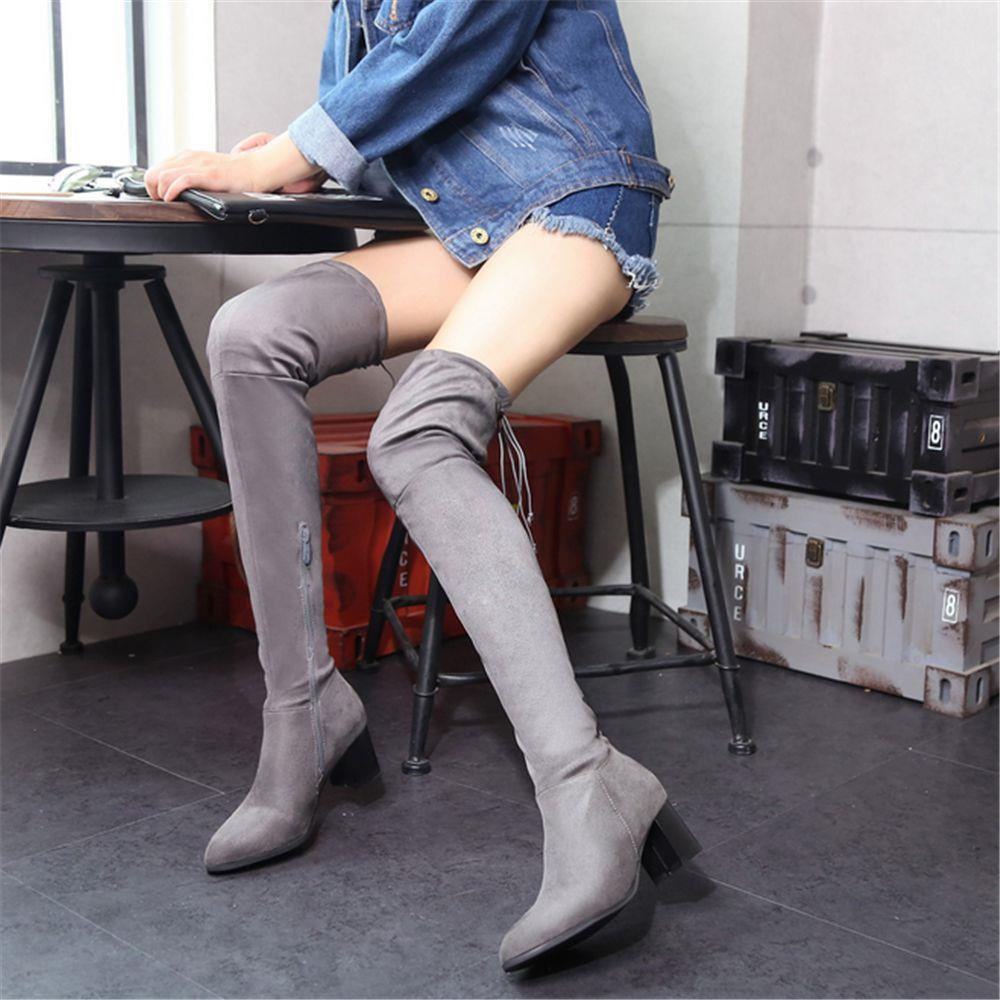 Women Stretch Faux Suede Thigh High Boots