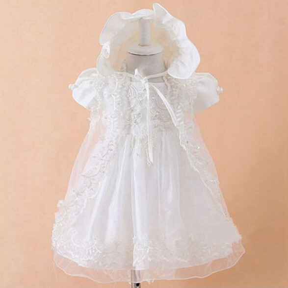 WITH HAT New Baby Infant Christening Dress Baptism Gown Lace Satin 0 24month
