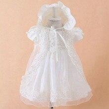 С шляпа новый ребенок новорожденных крещение платья крещение платье кружева атласная 0-24month