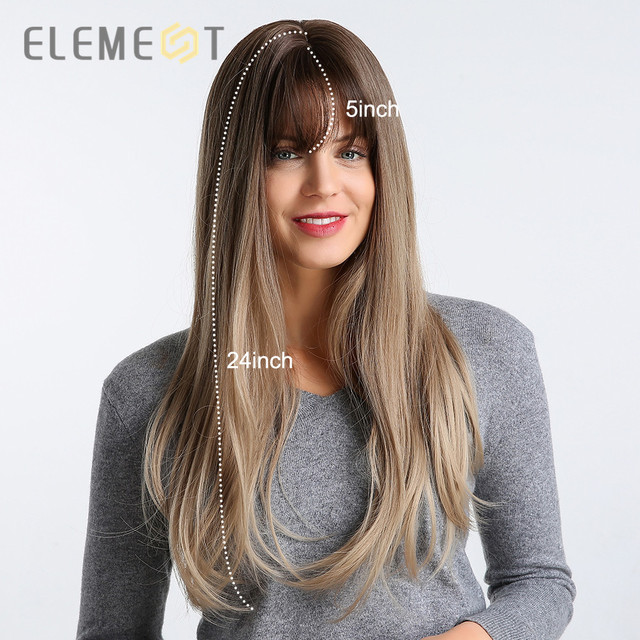 Element 22 inch Long Synthetic Wig with Bangs High Density Dark Root Natural Headline Heat Resistant Hair Wigs for Women 3 Color 4