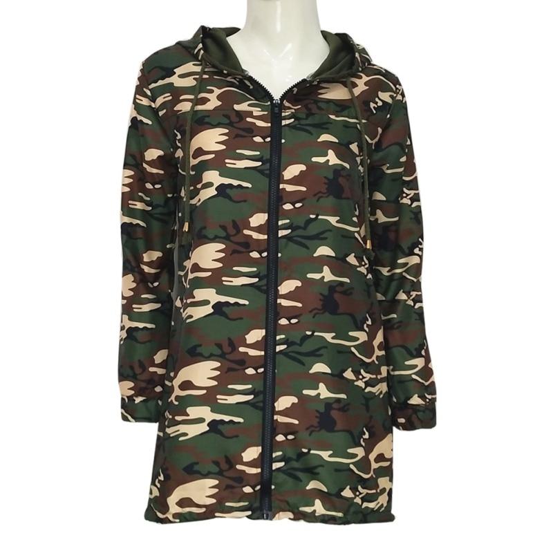 Spring autumn fashion women windbreaker jackets winter pockets casual  long hooded zipper camouflage female coat f2