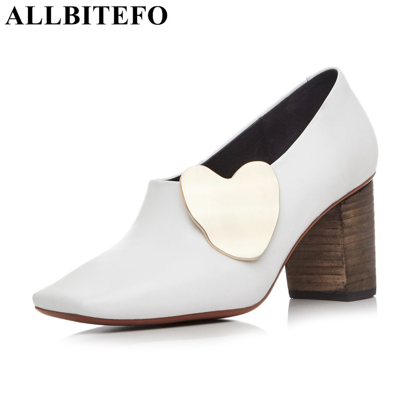 ALLBITEFO square toe genuine leather high heels women pumps fashion thick heel spring pumps office ladies shoes women's shoes цена 2017