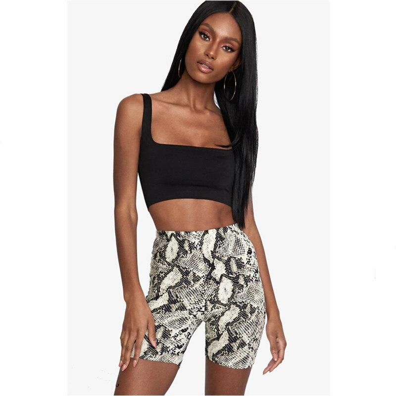 Womens Summer Shorts Vintage Fashion Snakeskin Print Hotpant 2019 Jogging Gym Sports Shorts Ladies Slim Casual High Waist Shorts
