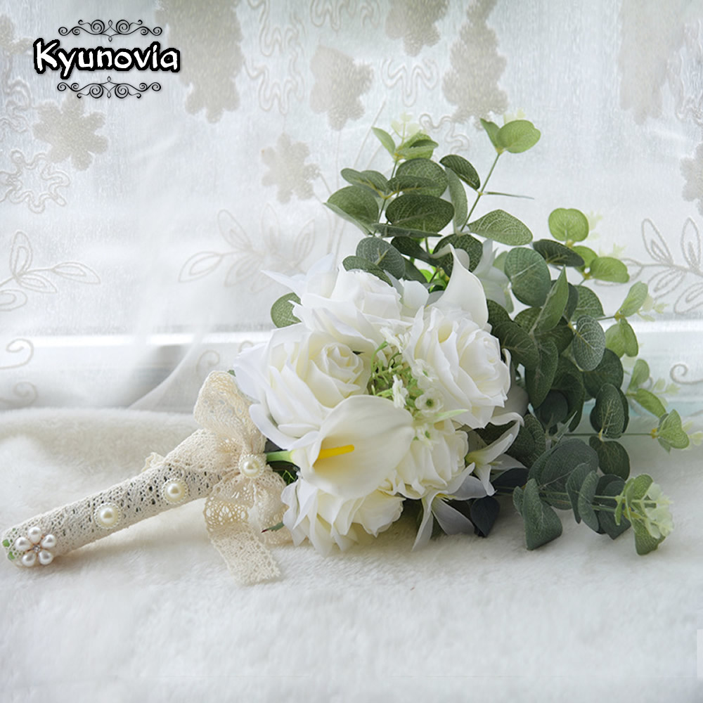 Image 5 - Kyunovia Boho Bridal Wedding Flowers Mini Bridesmaid Bouquet Real Touch White Calla Lily  Flowers Bridal Wedding Bouquet FE100Wedding Bouquets   -