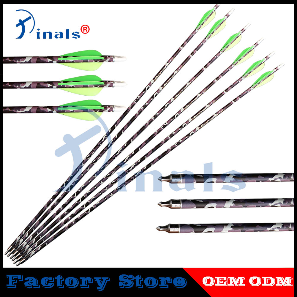 New Camo Archery Carbon Arrows Spine 340 30inch Id6.2mm 3 Inch Vanes Compound Recurve Bow Hunting Shooting Fixing Prices According To Quality Of Products