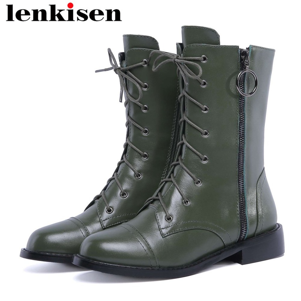 Handmade motorcycle boots luxury genuine leather round toe low heels zipper solid european style beauty lady mid-calf boots L11Handmade motorcycle boots luxury genuine leather round toe low heels zipper solid european style beauty lady mid-calf boots L11