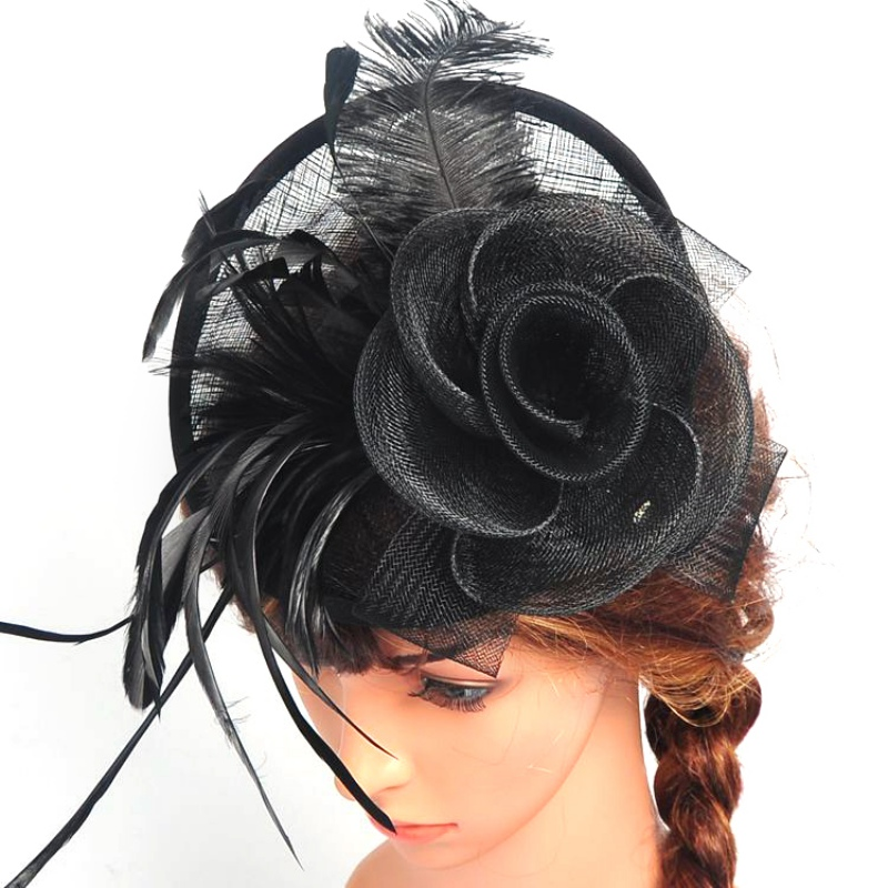 HOT Women Chic Fascinator Hat Cocktail Wedding Party Church Headpiece Headband women s hats and fascinators vintage sinamay sagittate feather fascinator with headband tocados sombreros bodas free shipping