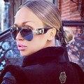 Hot new 2017 top qualidade fivela de couro das mulheres óculos de sol óculos de sol da moda steampunk óculos de sol retro oculos de sol feminino