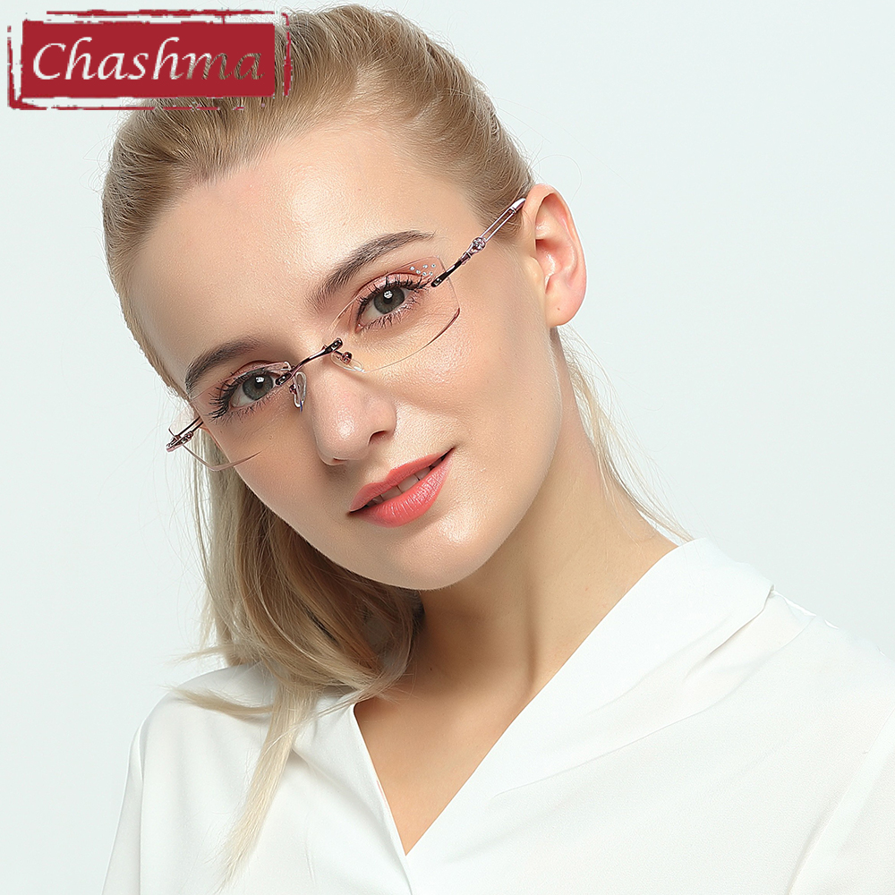 Chashma Brand Titanium Fashion Lady Eye Glasögon Diamanter Rimless Spectacle Frames Women Tint Linser Glasses for Female