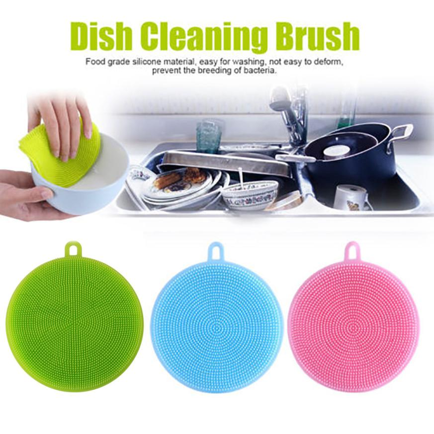 3Pcs Silicone Dish Washing Sponge Scrubber Cleaning Brushes Kitchen Cleaning Antibacteria Kitchen Household Cleaning Tools