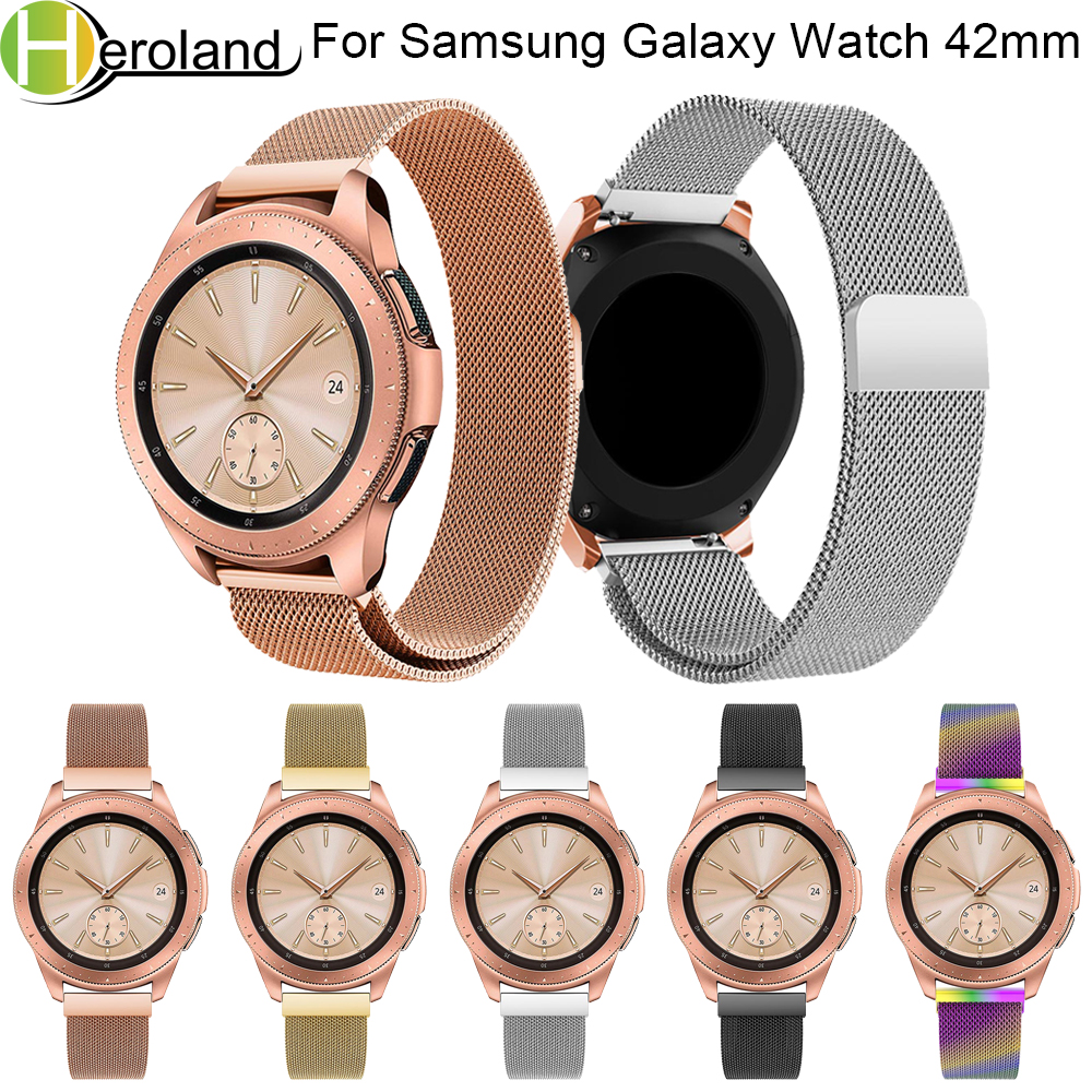 Band Wrist For Samsung Galaxy Watch 42MM milanese loop new 20MM stainless steel Magnetic Milanese Replacement smart Watch Band цена