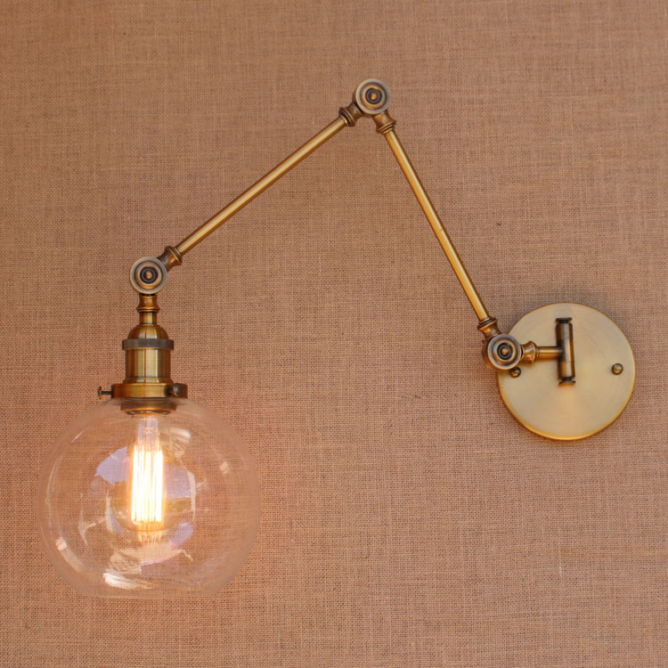 Glass Brass Adjustable Long Arm Wall Light Vintage Edison Loft Style - Indoor Lighting - Photo 5