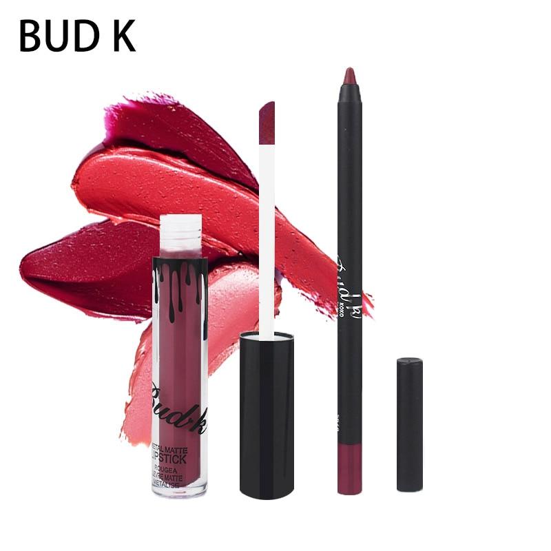 NEW BUD K Brand Liquid Matte Lipstick set lips Pencil Makeup lasting Waterproof Mate lip gloss Cosmetics lip kit batom CANDY K in Lipstick from Beauty Health